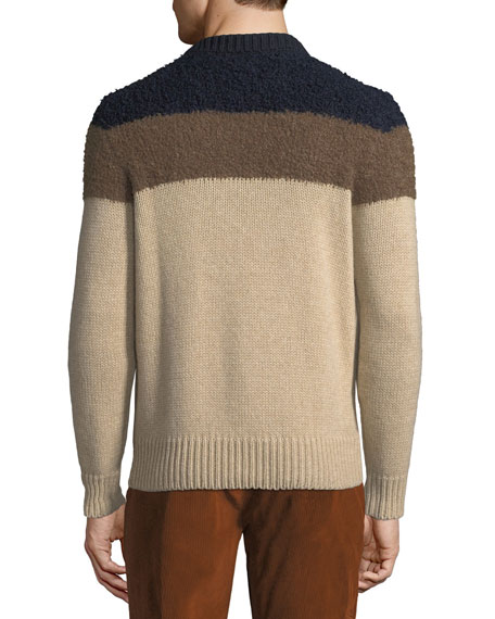 Men's Striped Alpaca-Trim Sweater