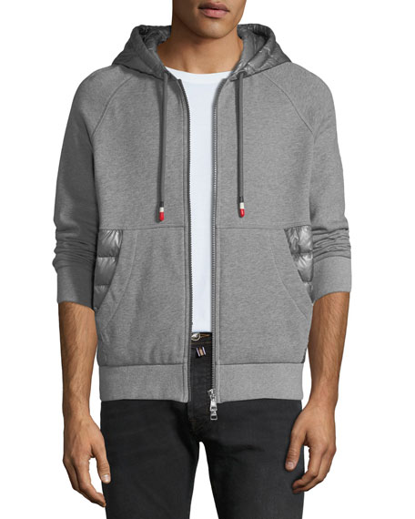Men's Zip-Front Hoodie with Puffer Insets