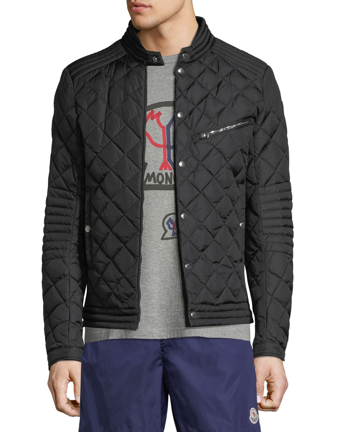 Moncler Black Fred Quilted Shell Jacket for men