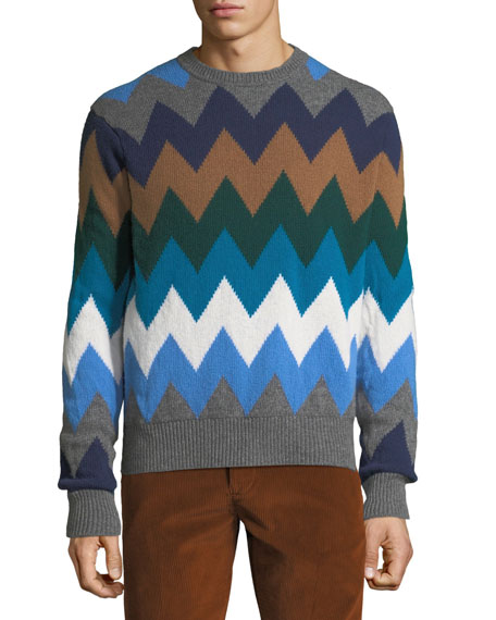 Moncler Men's Diamond Stripe Wool Sweater