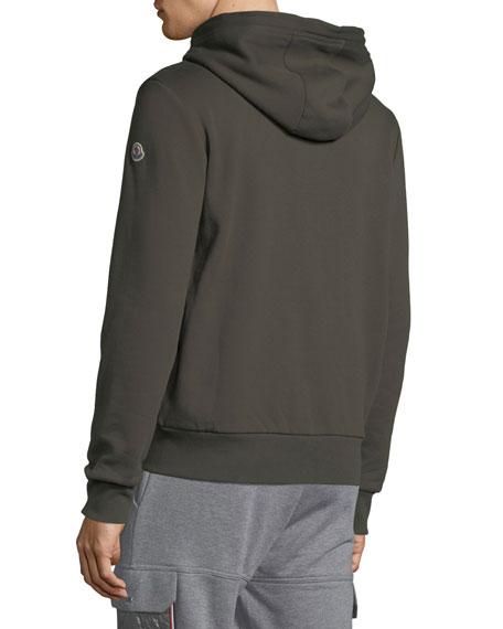 Men's Striped-Placket Zip-Front Hoodie Sweatshirt