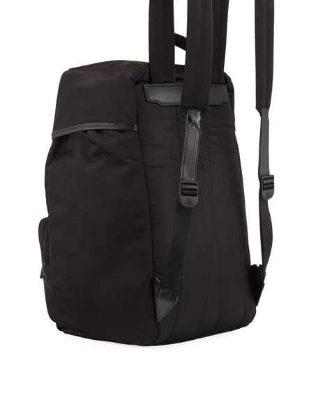 Men's Chute Leather-Trim Canvas Backpack