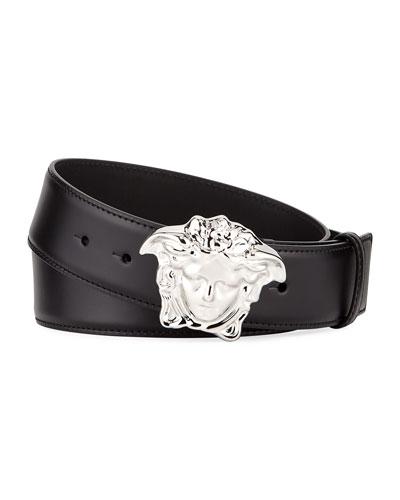 Men's Leather Medusa-Buckle Belt