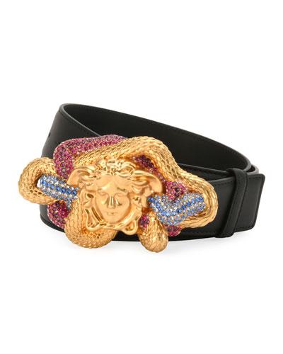 Leather Multicolor Medusa-Buckle Belt