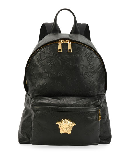 Men's Embossed Leather Medusa Backpack