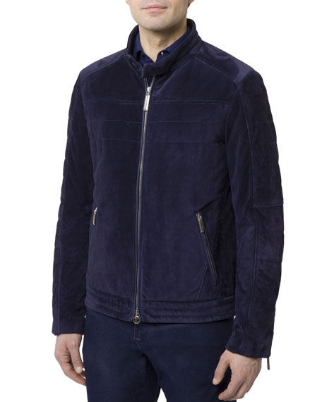 Men's Zip-Front Quilted Suede Moto Jacket w/ Woven Lining