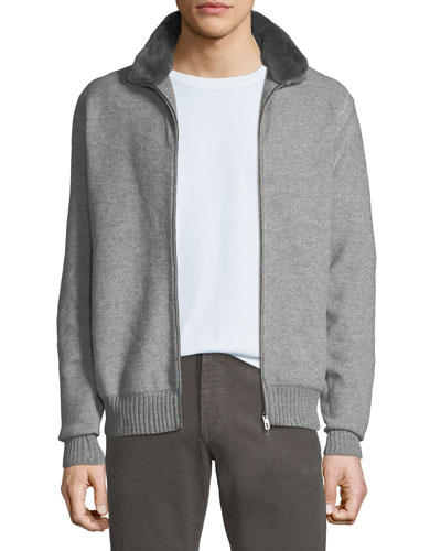 Men's Fur-Trim Cashmere Bomber Cardigan Sweater