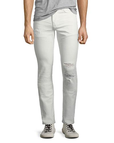 Men's Blake Slim-Straight Distressed Jeans, Caution