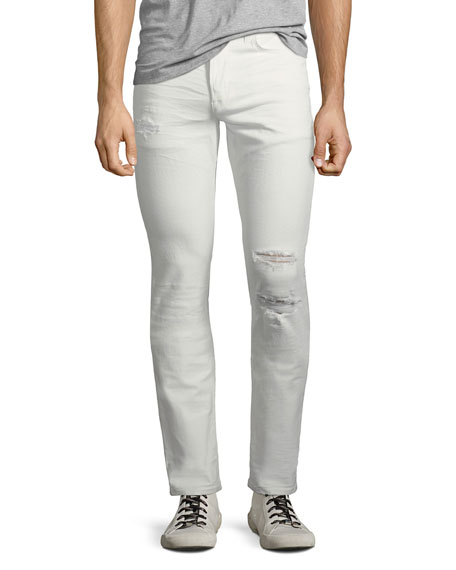 Men's Blake Slim-Straight Distressed Jeans, Caution