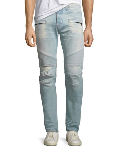 Men's Blinder Biker Distressed Moto Jeans, Rewired