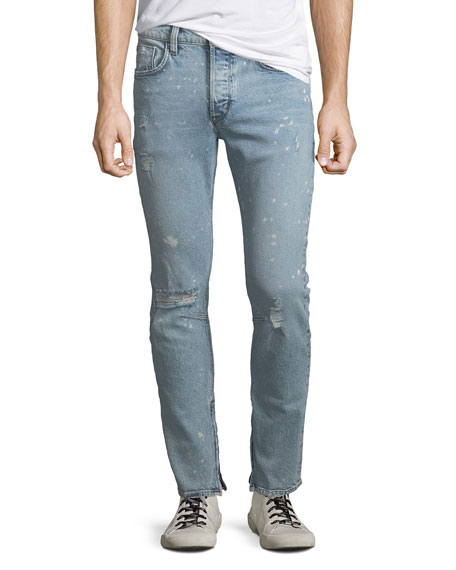 Hudson Men's Vaughn Distressed Skinny Ankle-Zip Jeans, Echo