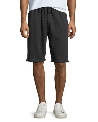 Men's Distressed-Hem Knit Shorts