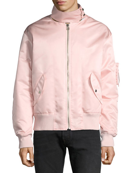 Men's Panel-Neck Satin Bomber Jacket