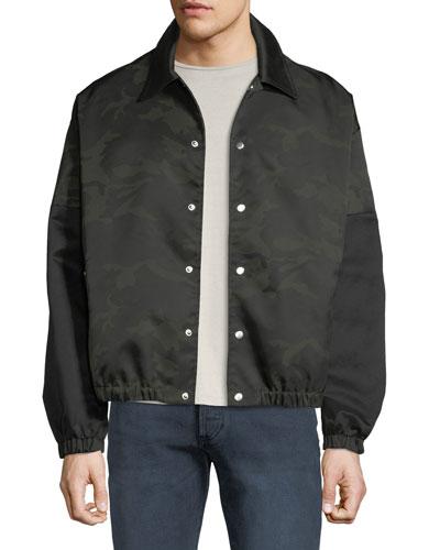 Men's Camo Coach Snap-Front Jacket