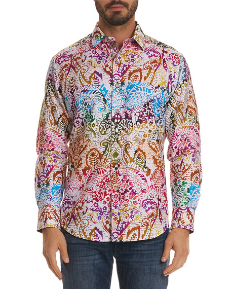 Men's Zelandia Classic Fit Multicolor Paisley Sport Shirt