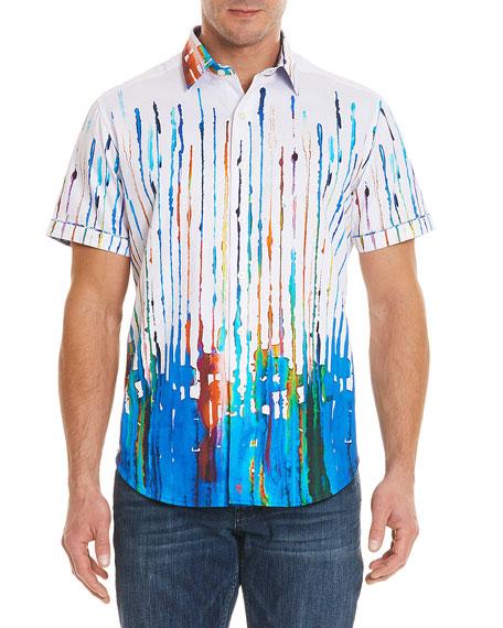 Men's Reyna Classic Fit Paint-Striped Short-Sleeve Sport Shirt