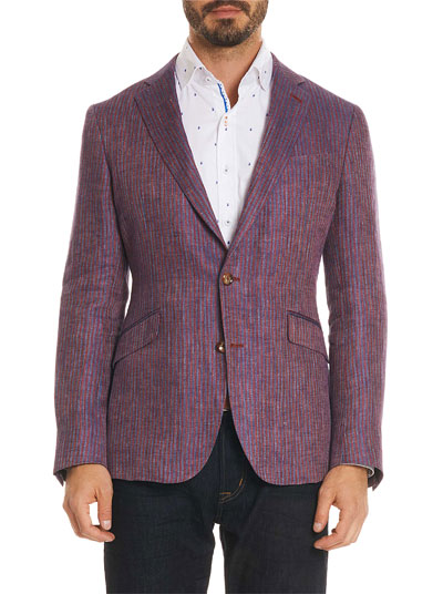 Men's Corbett Striped Linen Two-Button Jacket