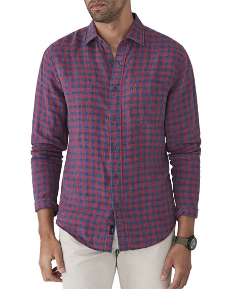 FAHERTY Men'S Ventura Linen Plaid Shirt in Red Pattern