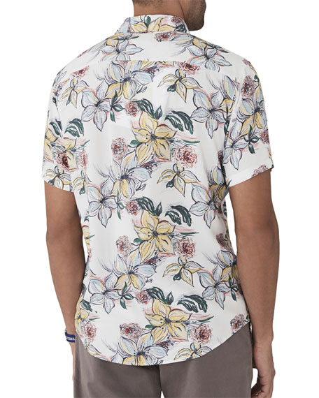 Men's Hawaiian Watercolor Floral-Print Short-Sleeve Shirt