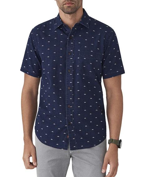 FAHERTY Men'S Coast Sunrise-Print Short-Sleeve Button-Down Shirt, Blue in Sunrise Indigo Print