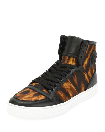 Men's Flame-Pattern High-Top Sneakers