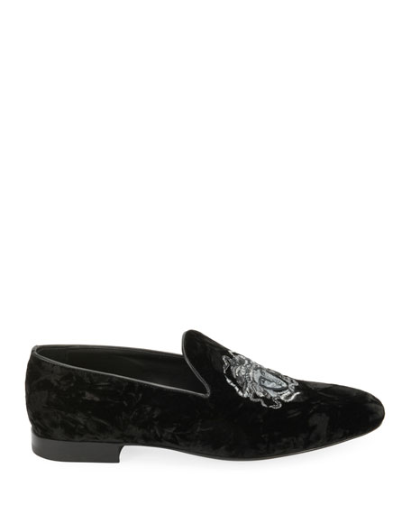 Men's Medusa-Embroidered Velvet Formal Slipper