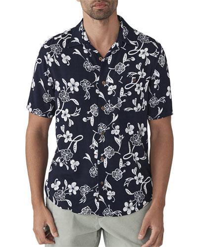 Men's Hawaiian Floral-Print Short-Sleeve Shirt