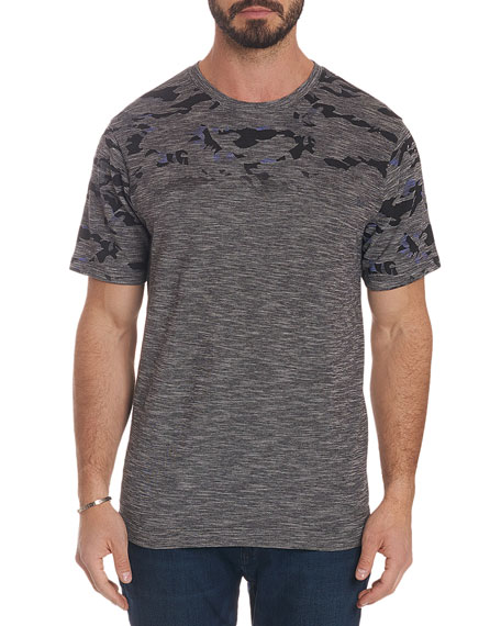 Robert Graham Men's Coral Sea Heathered Camo-Design T-Shirt
