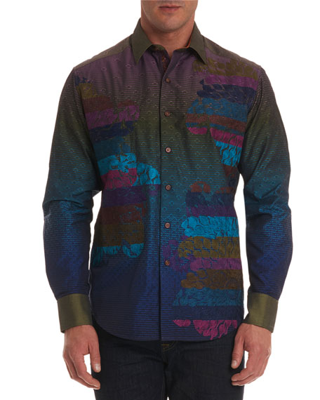Men's Roos Limited Edition Nebula-Pattern Classic Fit Sport Shirt