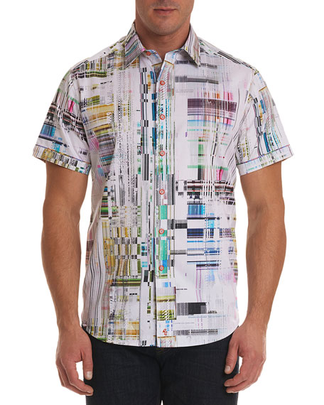 Men's Paracels Classic Fit Geometric-Pattern Short-Sleeve Sport Shirt