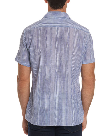 Men's Tarpon Classic Fit Embroidered Striped Linen Sport Shirt