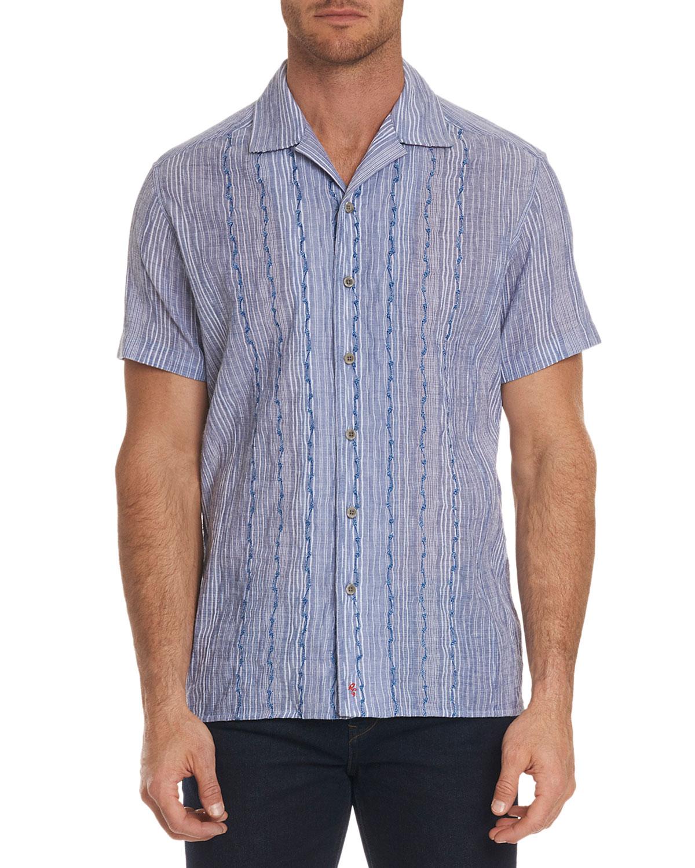 Robert Graham Mens Tarpon Classic Fit Embroidered Striped Linen