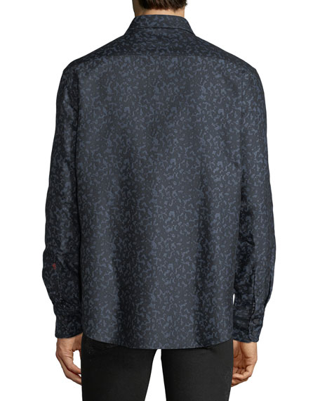 Men's Lawrence Classic Fit Leopard Jacquard Sport Shirt