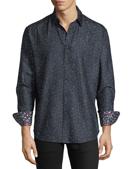 Robert Graham Men's Lawrence Classic Fit Leopard Jacquard