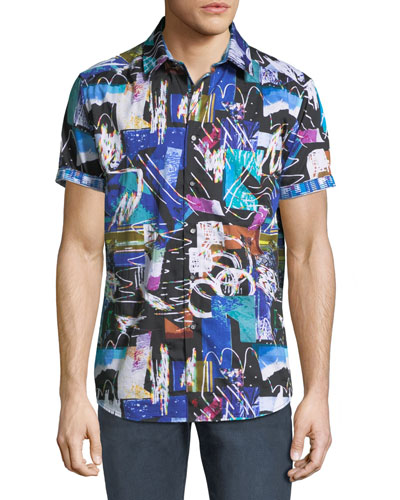 Men's Classic Fit Squiggly Short-Sleeve Sport Shirt