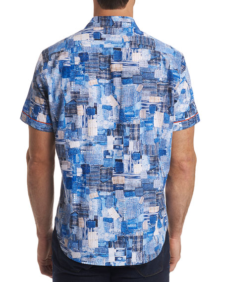 Men's Canberra Classic Fit Graphic Short-Sleeve Sport Shirt