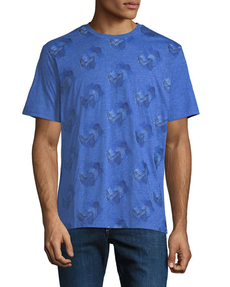 Men's Embroidered Wave Cotton T-Shirt