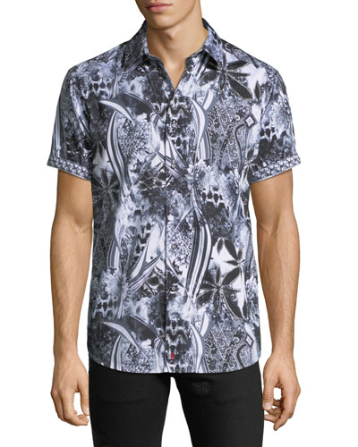 Men's Classic Fit Large-Paisley Short-Sleeve Sport Shirt
