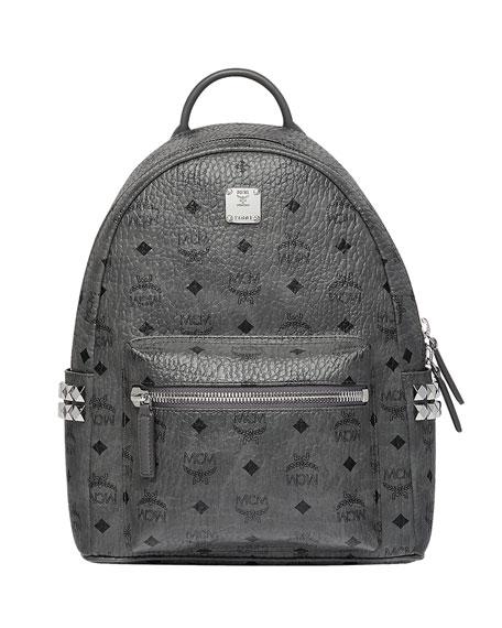 MCM Stark Medium Stud Faux Leather Backpack - Grey, Gray
