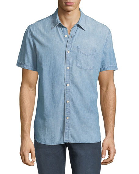 AG Adriano Goldschmied Men's Pearson Short-Sleeve Denim Sport
