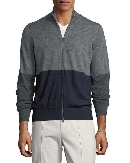 Men's Colorblock Zip-Front Wool Sweater