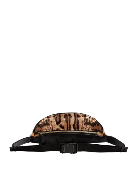 Stark Medium Brass-Plate Leopard Belt Bag