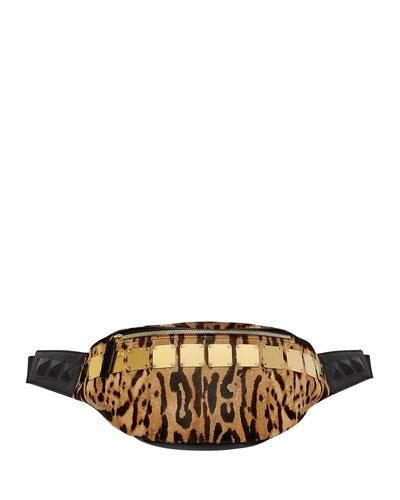 Stark Medium Brass-Plate Leopard Belt Bag