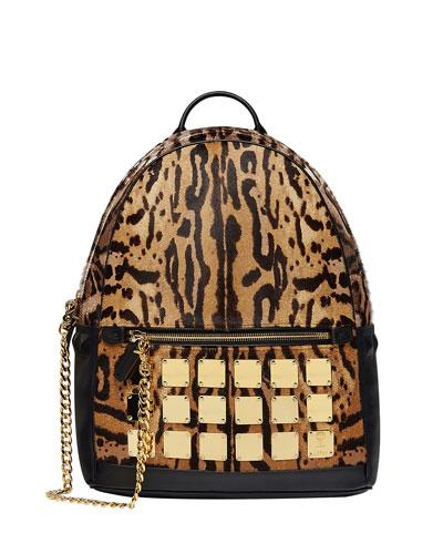 Men's Stark Brass Plate Leopard Medium Backpack