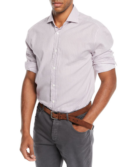 Men's Striped Poplin Dress Shirt