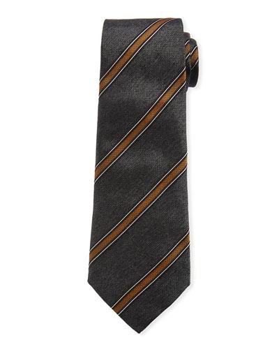 Diagonal Wide Stripe Silk Tie