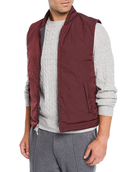 Brunello Cucinelli Men's Zip-Front Quilted Vest