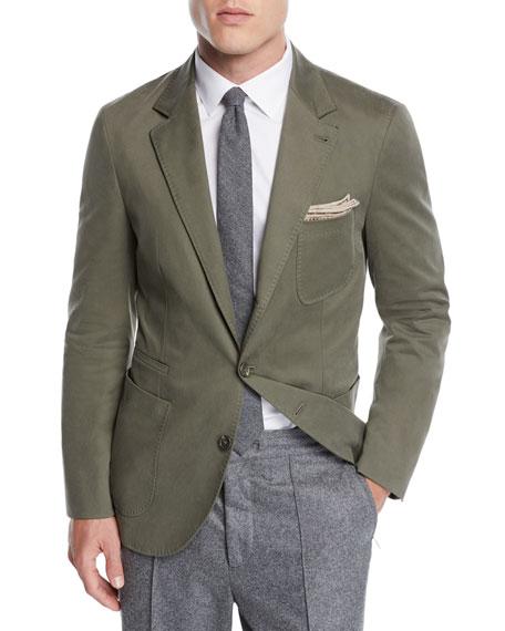 Men's Patch-Pocket Cotton Blazer Jacket