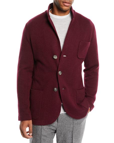 Men's Cashmere Button-Front Knit Cardigan Jacket