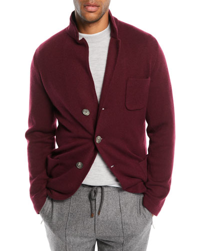 Men's Cashmere Button-Front Knit Cardigan Jacket